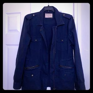 Velvet cool cotton navy blue military jacket M